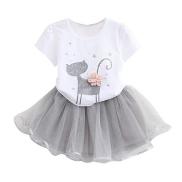 Fashion Cartoon Little Kitten Printed Dress For Baby Girl