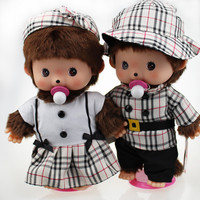 Monchhichi monkey 35cm Monkiki Monchichi  Scottish Grid Plush Doll