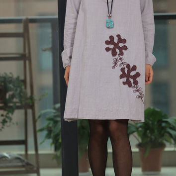 applique babydoll linen long sleeved dress by MaLieb on Etsy