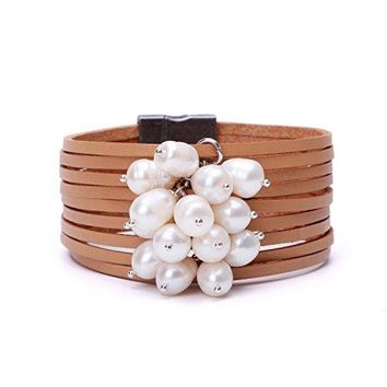 Freshwater Cultured Pearl Leather Cuff Bracelet Magnetic Wristband Bohemian Handmade Jewelry