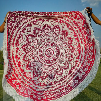 Roundie mandala tapestry Beach throw, round mandala, yoga mat, wall tapestry, round mandala, fringed, boho beach hippie ethnic style