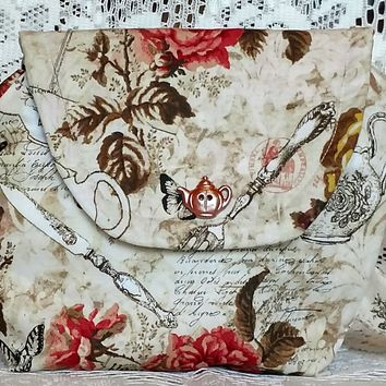 Vintage Roses and Teacups Teapot Purse Hand Tote - Sewn Just For You! - Allow 3-4 Weeks