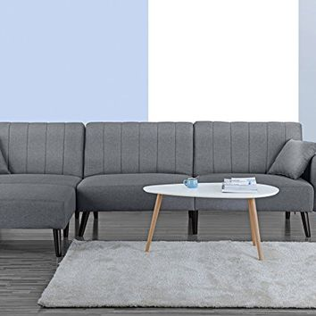 Mid Century Modern Style Linen Fabric Sleeper Futon Sofa, Living Room L Shape Sectional Couch with Reclining Backrest and Chaise Lounge (Light Grey)