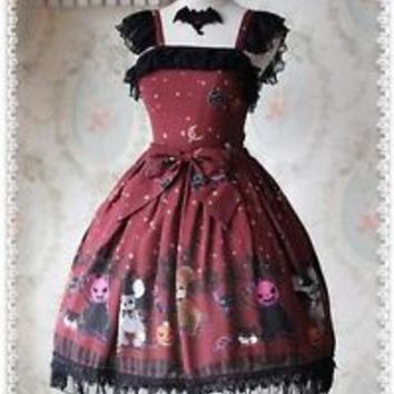 Infanta Halloween Horror Night Lolita Dress JSK & KC Set Gothic Party Cosplay