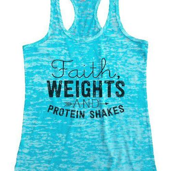 "Womens Next Level Burnout Tank Top ""Faith, Weights, and Protein Shakes"" RB Clothing Co"