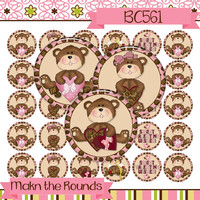 Valentine's Day Candy Bears Digital Collage - 1 inch Circle Bottle Cap Image - Instant Download