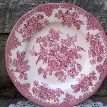"ROYAL STAFFORD Red Transferware 10"" Pheasant Dinner Plate ~  Roses, Birds, Pheasants, England, Serving,"