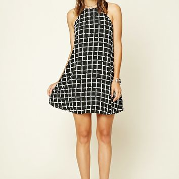 Contemporary Grid Print Dress