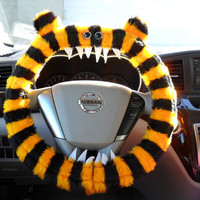Made 2 Order LEX Yellow and Black striped GENUINE Monster Steering Wheel Cover