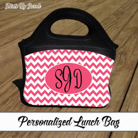 Personalized Chevron Lunch Bag - Zippered Neoprene Lunch Tote Handles Monogram Lunch Bag Zip Top