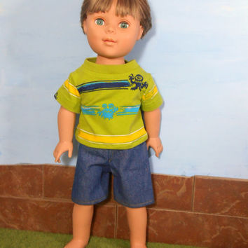 Monster T- Shirt with Blue Jean Shorts for 18 Inch Boy Dolls, Green Striped T-shirt,18 Inch Boy Doll Clothes, Summer Doll Clothes