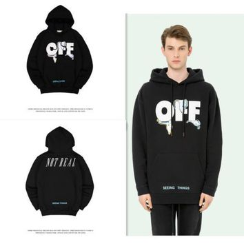 Letters melting clock men and women with the same paragraph plus cashmere hoodie couple fitted sets of sweater