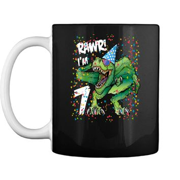 Kids Rawr Im 7 7th Birthday Dinosaur Shirts Boys Dinosaur Gift Mug