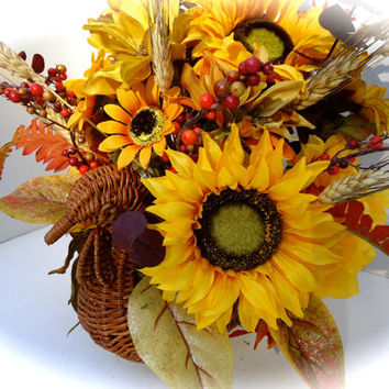 Fall Floral Turkey Basket   - Fall Table Arrangement, Fall Floral Turkey with Sunflowers and Fall Flowers
