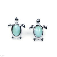 Larimar Turtle Stud Earrings