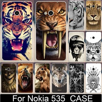 Cool Tiger Lion Wolf Rhinoceros Cat Animal Skull Painted Cases For Microsoft Nokia Lumia 535 Mobile Phone Case Cover Shell Capa
