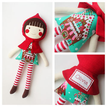 Personalized Christmas doll. Rag doll. Gift ideas for kids & baby. Cloth doll. Holiday gifts for kids. Stuffed toy.