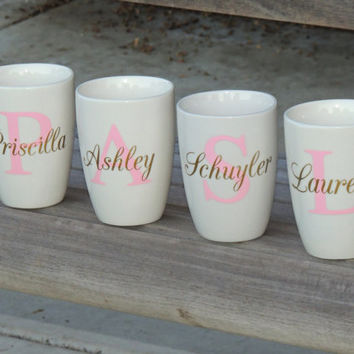 Bridal party coffee cups, wedding cups, bridal party gifts, personalized cups, monogrammed coffee mug, small coffee cup, small white mug
