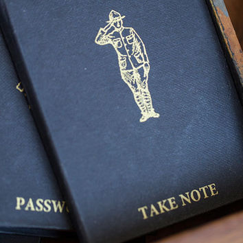 TAKE NOTE Blank Notebook with Saluting Man