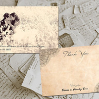 "50 Wedding Thank You Cards - Nantes Vintage Lace Photo Personalized 4""x6"""