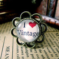 Cute I Love Vintage Design Ring , Antique Brass Ring , Steampunk Ring , Adjustable Ring , with a Gift Box