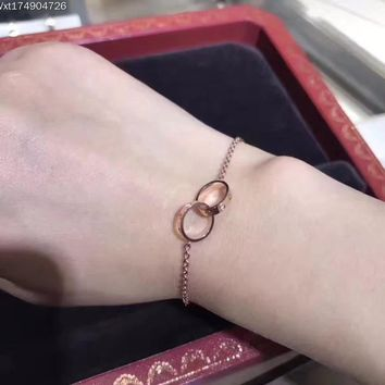 2018 New Trending Cartire Love classic logo high carbon  Double ring bracelet hand chain in 18K gold plating