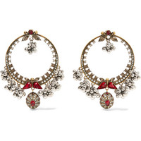 Alexander McQueen - Gold-plated, Swarovski crystal and faux pearl earrings
