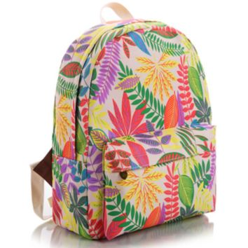 Sweet Leaves Printed Canvas Backpack College School Bag Travel Daypack