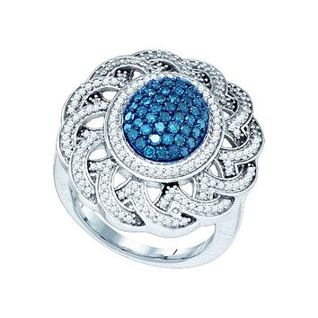 10kt White Gold Womens Round Blue Colored Diamond Cluster Antique-style Ring 1.00 Cttw