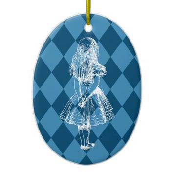 Alice in Wonderland Blue Christmas Ornament