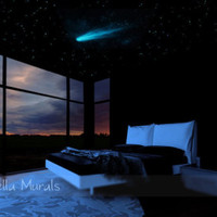 Glow in the Dark Moon Poster | Night Sky Theme Bedroom | Realistic Star Stickers for a Glow in the Dark Star Wall or Star Ceiling