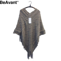 BeAvant Winter long tassel knitted poncho sweater women Autumn batwing sleeve sweaters and pullovers Fashion pull femme 2016