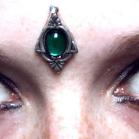 Green Beauty Bindi, tribal fusion, fairy, woodland, elven, bellydance, bollywood, fantasy, gypsy, facial gem, aquamarine, silver, vintage