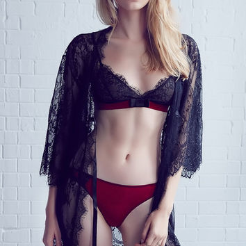 Lace Strap Embroidery Underwear Lingerie Set