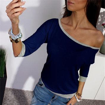 New Spring Sexy Women Long Sleeve Loose Casual Off Shoulder Tees T shirt Tops Multicolor Womens T-shirt F05