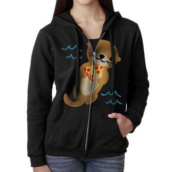 TWOCI-11 Women's Funny Otter With Pizza Cotton Knitted Long Sleeve Hoodie Sweatshirt