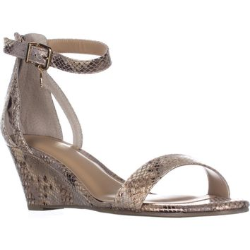 TS35 Areyana Ankle-Strap Wedge Sandals, Champagne Snake, 8.5 W US