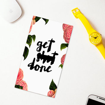 Get S*it Done planner dashboard, medium or personal sized diary cover, inspirational quotes for planner, digital planner page pink floral.