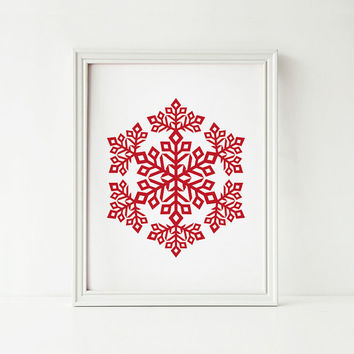 Christmas decor, Holiday decor, Red Snowflake PRINTABLE art, White Red Christmas decoration, Snowflake art print Digital printable wall art