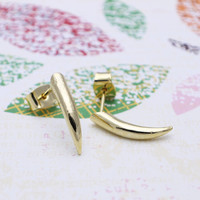 Gold Curved spike earrings with sterling silver post