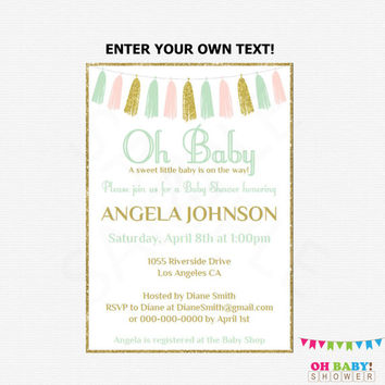 Editable Baby Shower Invitation, Pink Mint Gold Baby Shower Invitation, Girl Baby Shower, Printable Invite, Oh Baby Shower Invitation TASPMG