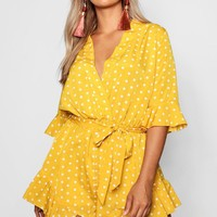 Plus Isabella Spotty Wrap Playsuit | Boohoo