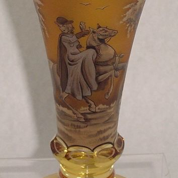365125 Tall Amber Romance Pattern Goblet W Straight Sides