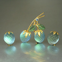 Vintage Austria Blue Frosted Pressed Glass Strawberry Brooch Earrings Set