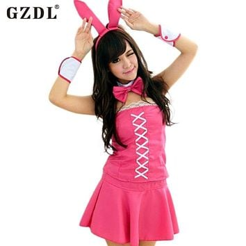 GZDL Women Bunny Rabbit Girl Mini Skirt Set Babydoll Nightwear Thong Sexy Lingerie Halloween Cosplay Costumes Pink SY4160 Macchar Cosplay Catalogue
