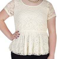 Instant Charmer Top in Ivory - Plus Size | Mod Retro Vintage Short Sleeve Shirts | ModCloth.com