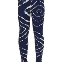 Girls Tie-Dye Leggings Blue & White:  S/L