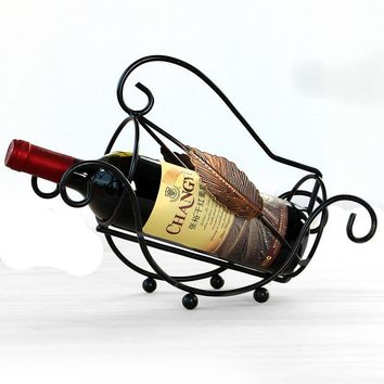 Wine Bottle Storage Shelf  Metal Wine Rack Hanging Wine Glass Holder Pirate Ship Shape Bar Wine Bottle Decor Shelf Display