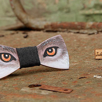 FREE SHIPPING Wolf wooden bow tie. Hand painted. Handicraft unique gift. #JVbowtie