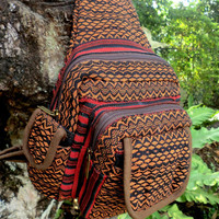 Tribal Backpack One Shoulder Man Bag Earthy Ethnic Naga Embroidery Tan and Black